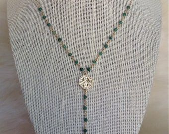 Green peace sign Y-necklace