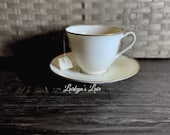 You've Been Poisoned Tea Cup & Saucer Set Simple Retro Coffee Shop Vibe Skulls Gothic Horror Insult Vintage