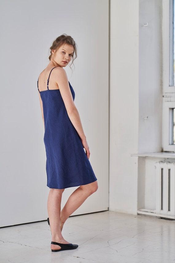 Linen cami dress Linen summer dress Linen shift dress Simple linen dress linen slip dress Linen beach dress Linen camisole dress