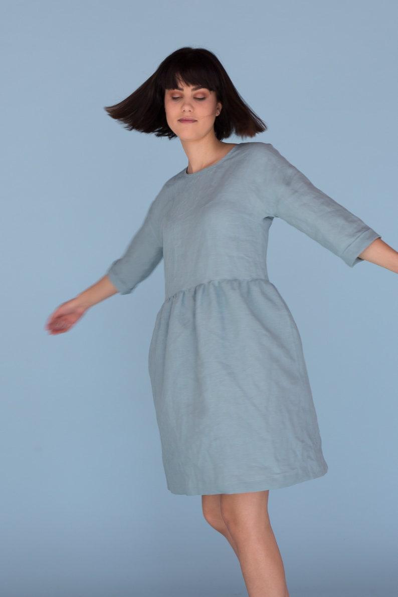 1629ae6a0d3 Linen summer dress Soft women s smock dress with 3 4