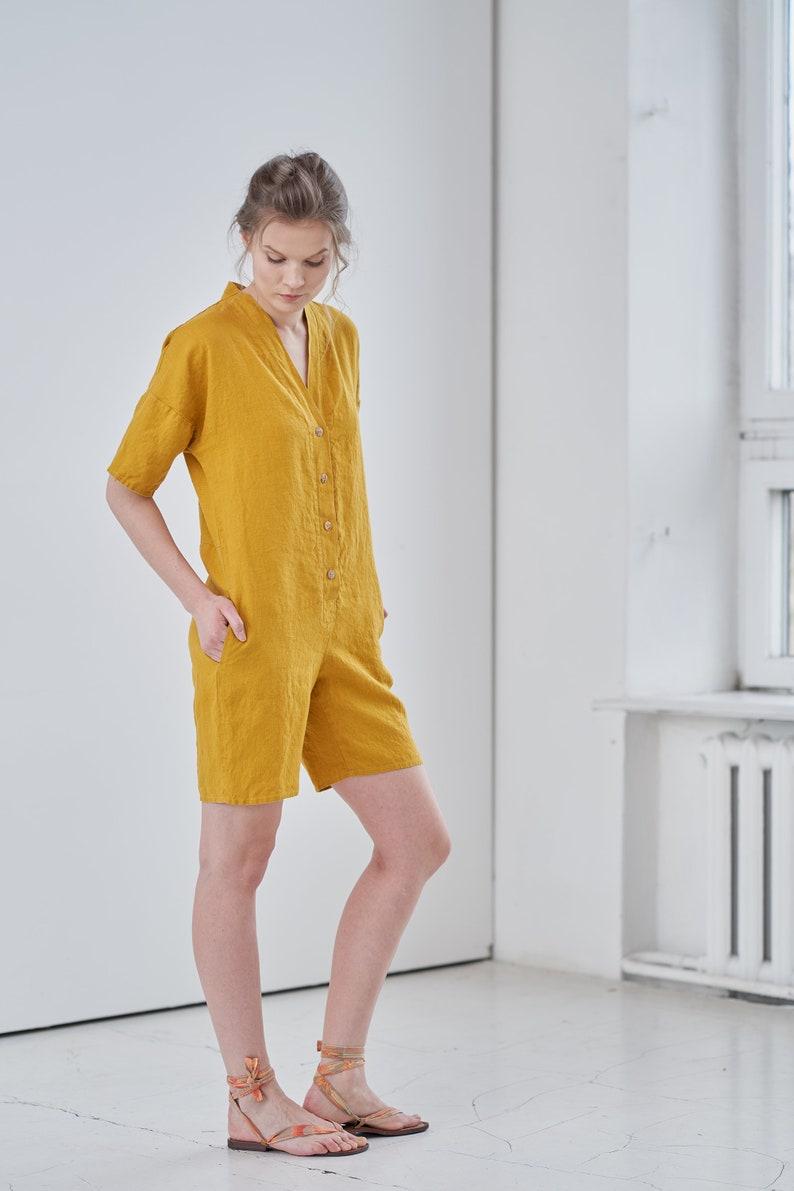 Linen jumpsuit with shorts Short jumpsuit Linen button playsuit with pockets Linen jumpsuit Linen overall Short sleeve linen romper