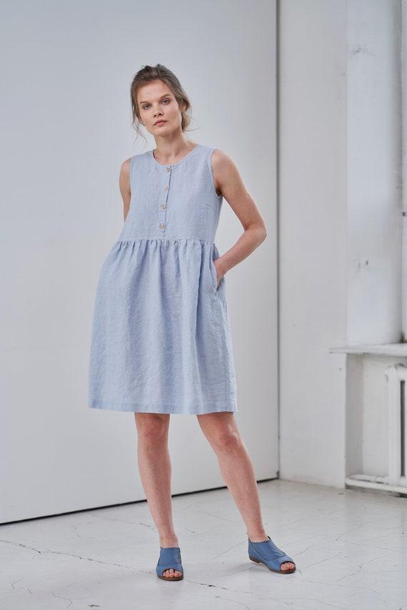 Women Linen dress  Linen dress with pockets  Linen dress with buttons