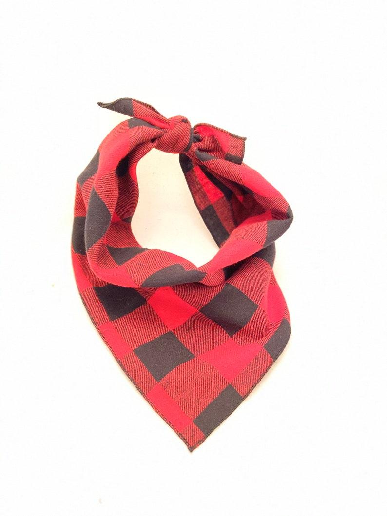 Red and Black Bandana Red Bandana Flannel Buffalo Plaid Scarf-1 Plaid Red Buffalo Dog Bandana