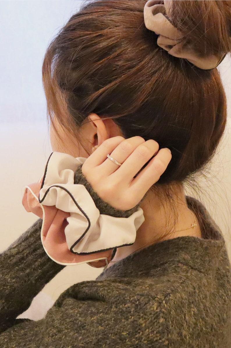 Line Satin Scrunchie Hair Tie