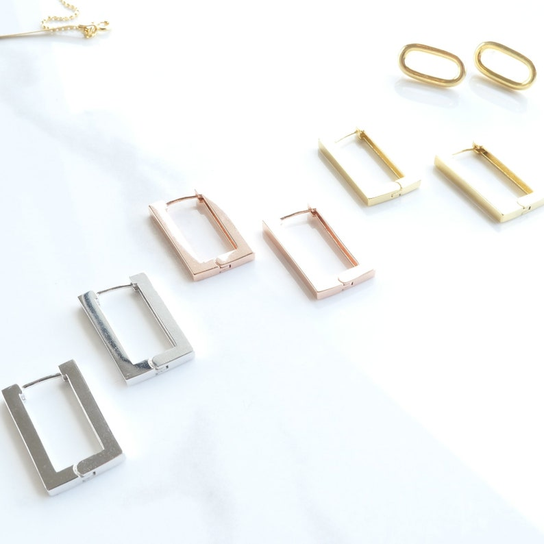 92.5 Sterling Silver Elementary Square Latch Earring