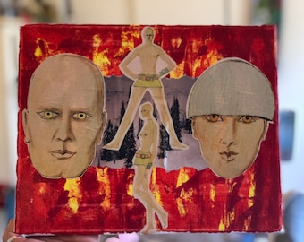 Two Faced Fire Painting Collage 8x10 1 of 1