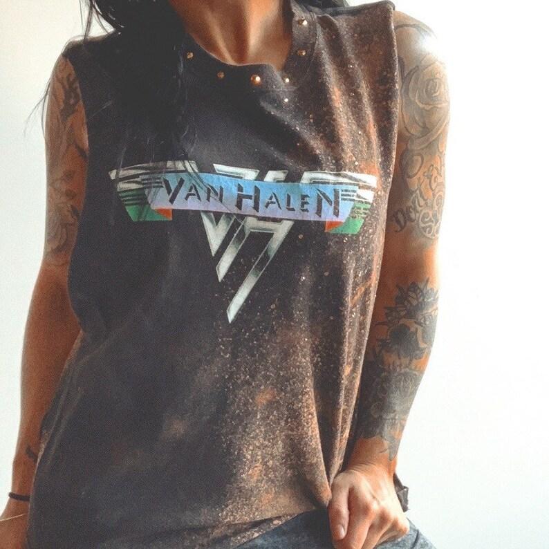 Custom restyled dope unique bleach splatter patrern classic rock Van Halen basic black blinged out studded rhinestone sleeveless band tee