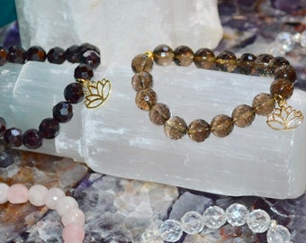 Faceted Gemstone Bracelet with Lotus