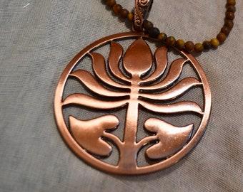 Large Bronze Lotus Necklace with Matte Tiger Eye gemstones