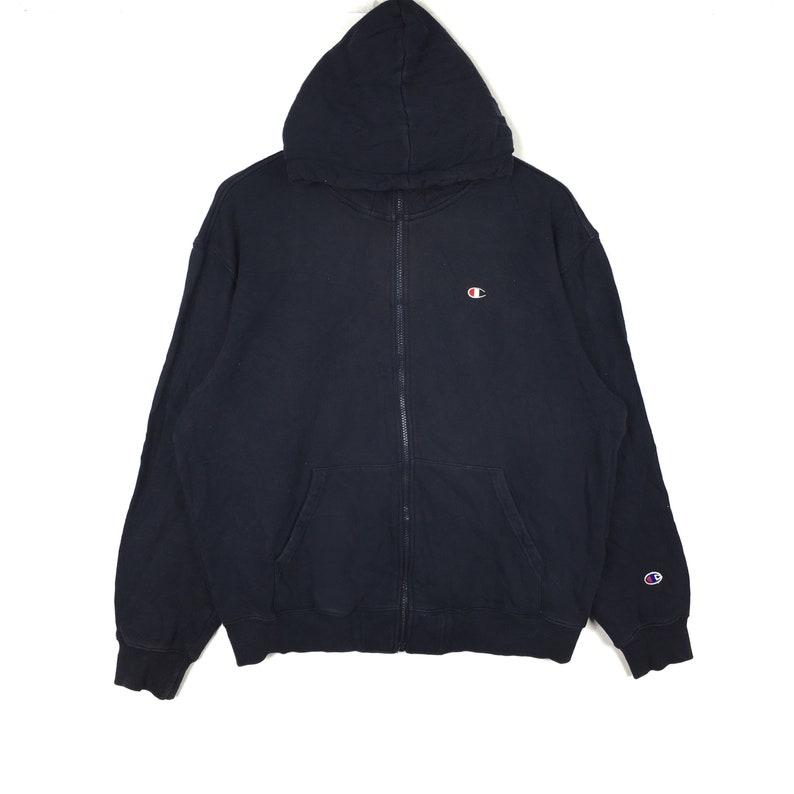 Vintage 90s CHAMPION Big Logo Black Sweatshirt Hoodie XLarge Size Basic Hip Hop Swag Streetwear Skateboard Reverse Weave USA Gift Script