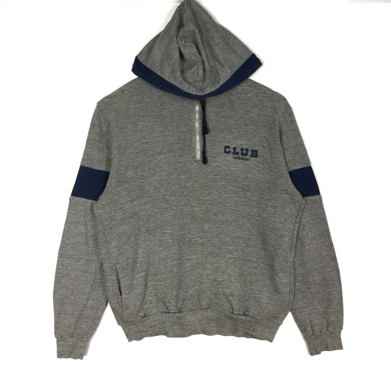 Vintage ADIDAS CLUB Stripes Spellout Grey Hoodie Medium Size 90s Hip Hop Swag Casual Trefoil Sportswear Gift Vintage Streetwear