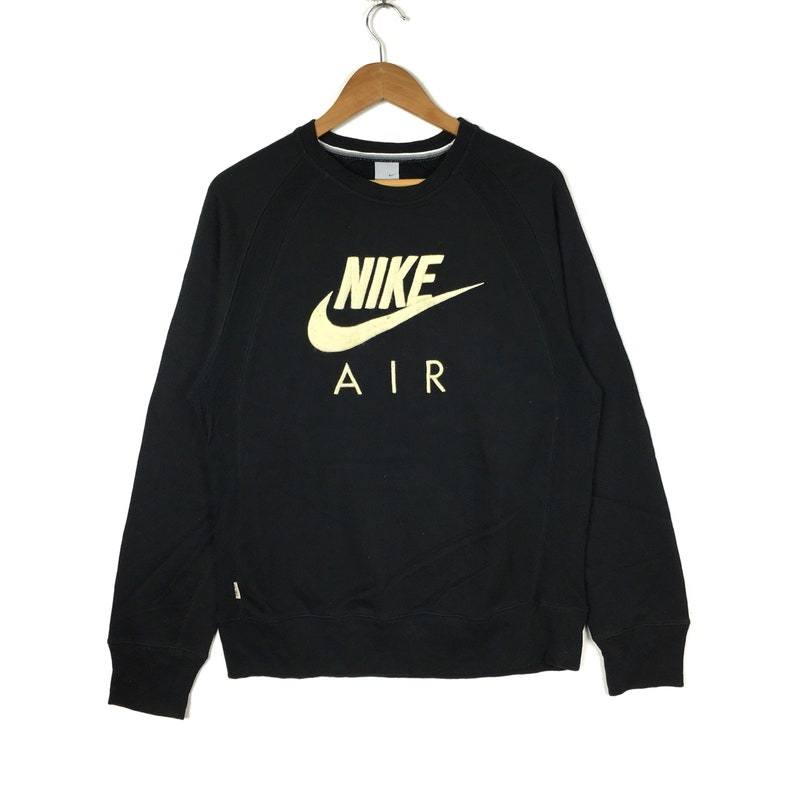 on sale 36e7b c0ad2 NIKE AIR Black Big Logo Embroidered Sweatshirt Medium Size   Etsy