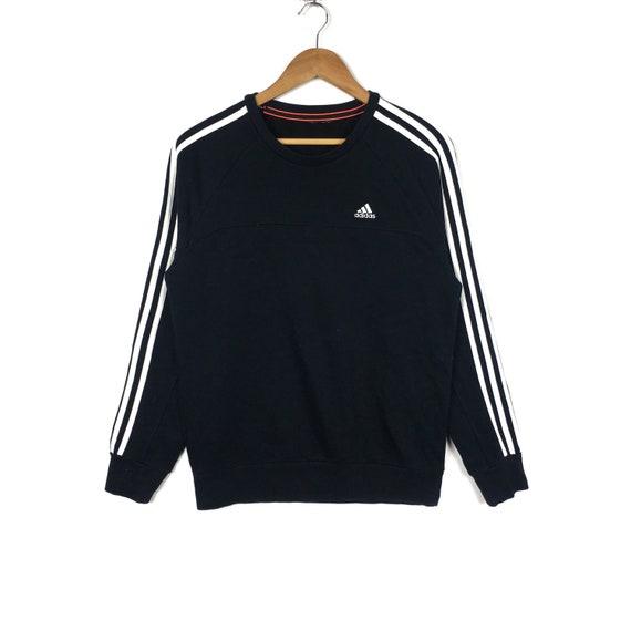 ADIDAS EQUIPMENT Stripes Black Pullover Sweatshirt Medium Size 90s Hip Hop Swag Casual Trefoil Sportswear Gift