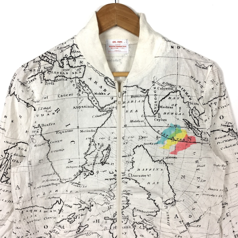 Vintage WORLD MAP JACKET Tyvex All Over Print Small Size Hip | Etsy