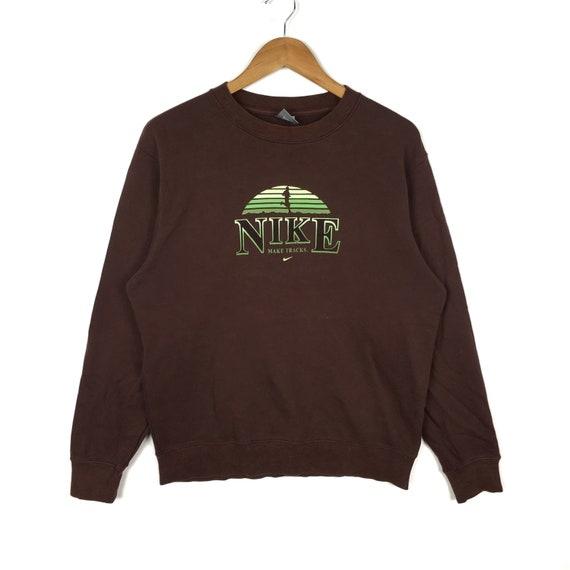 Swoosh Streetwear Track Vintage Medium Nike Jacket Size Sportswear Skateboard Make Brown Swag Hoodies Sweatshirt Casual 90s Hiphop QCdrxoEBeW