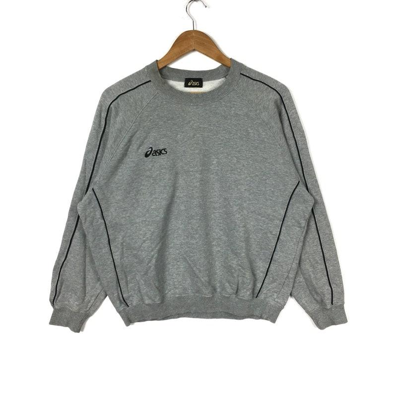 a1a20318db608 Vintage 90s ASICS Stripes Black Colour Pullover Sweatshirt | Etsy