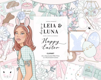 Easter Spring Floral Fashion Girl Clip Art Watercolor Clipart Stationery Designs Downloads PNG Hand Drawn Sticker Graphics