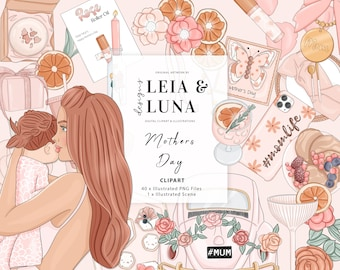 Mothers Day Spring Bohemian Fashion Girl Clip Art Watercolor Clipart Stationery Designs Downloads PNG Hand Drawn Sticker Graphics