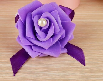 Purple Wrist Corsage wristband Roses Wrist Corsage for Prom, Party, Wedding