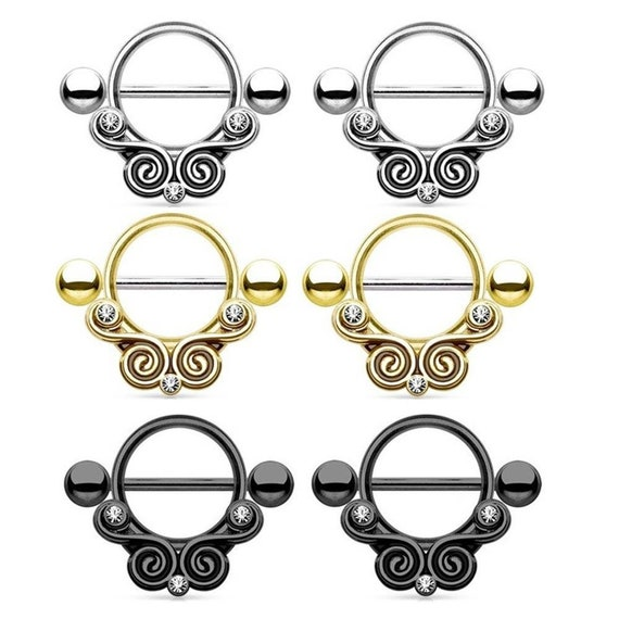 Pair 14G Tribal Retro Stainless Steel Bar Barbell Nipple Ring Body Piercing 4330a7bed285