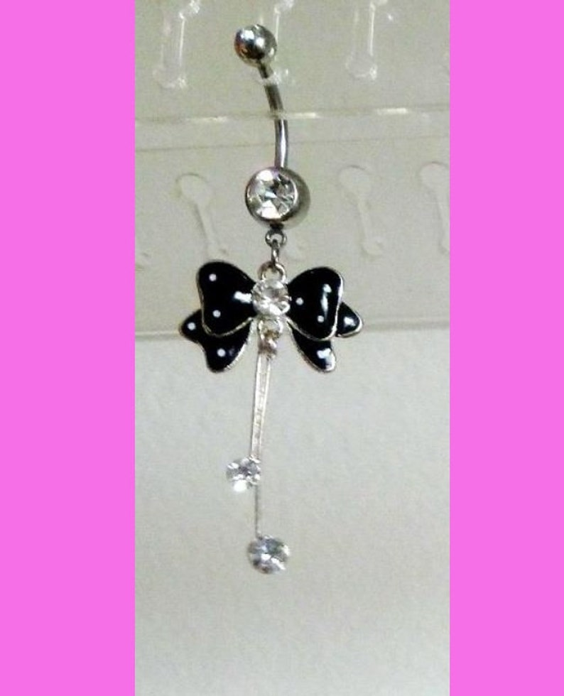 14g Surgical Stainless Steel Belly Ring Black Bow Crystal Belly Button Ring Dangling Navel Belly Ring Silver Belly Ring With Bow Charm
