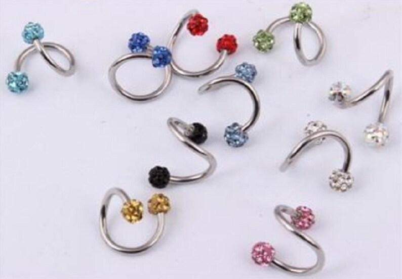 18d01fab182b7 Daith earring tragus cartilage helix piercing 16g Rook earring piercing  Eyebrow ring Snug piercing spiral twister barbell Shamballa crystal