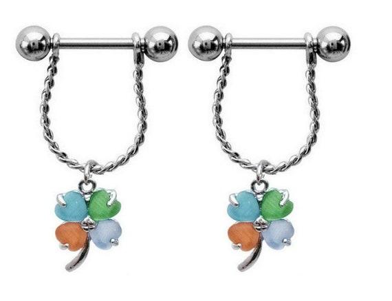 1 pair Dangling Cat s Eye Clover Nipple Piercing Barbells  a8c94ceeea10