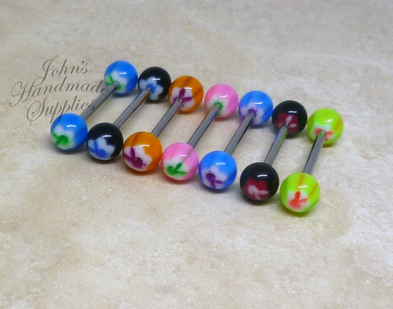 """Nipple Tongue ring Barbell 8 Neon Ball 14g 5//8/"""" 16mm Surgical Steel one of each"""