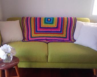 Colourful handmade crochet blanket