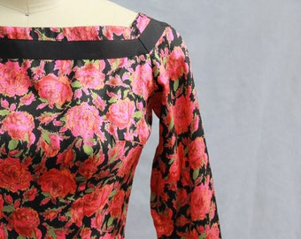 2def3172ee5 1950s Silk Roses Mr Mort Party Dress Size XS