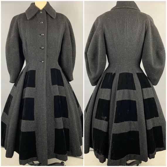 1950s Lilli Ann Black Mohair and Silk Velvet Princ
