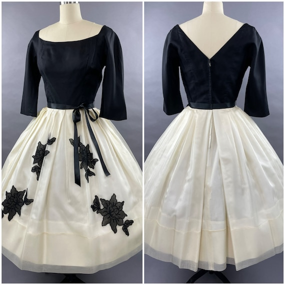 1950s Black and White Suzy Perette Party Dress Siz