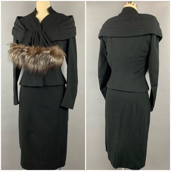 1950s Lilli Ann Wool and Fox trim Suit