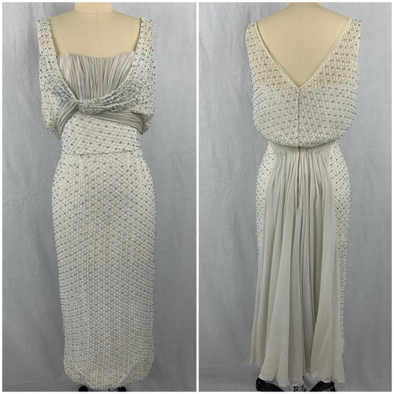 1950s Ceil Chapman Beaded Party Dress