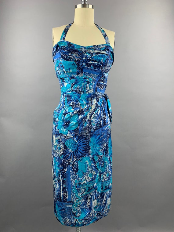 1950s Elsie Krassas Hawaiian Silk Sarong Dress