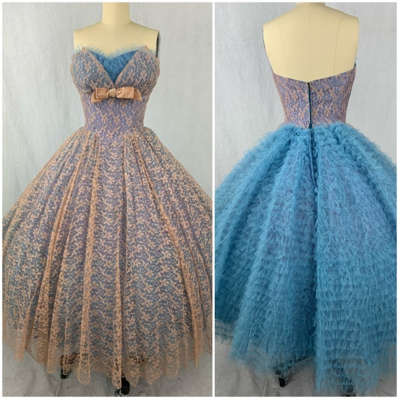 1950s Teal Party Prom Dress