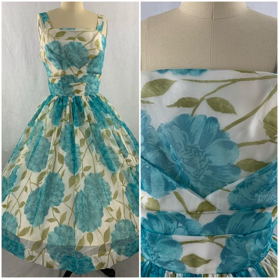 1950s Deadstock Teal Roses Party Dress