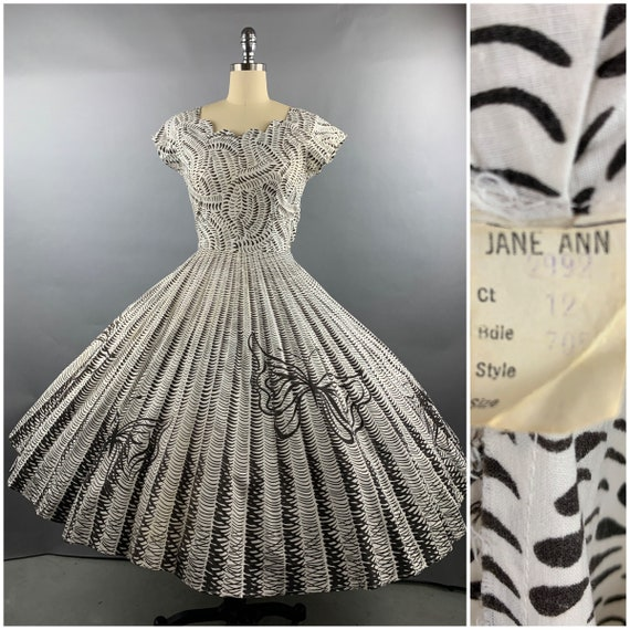 "1950s ""Jane Ann"" Butterfly Brushstroke Cotton Dres"