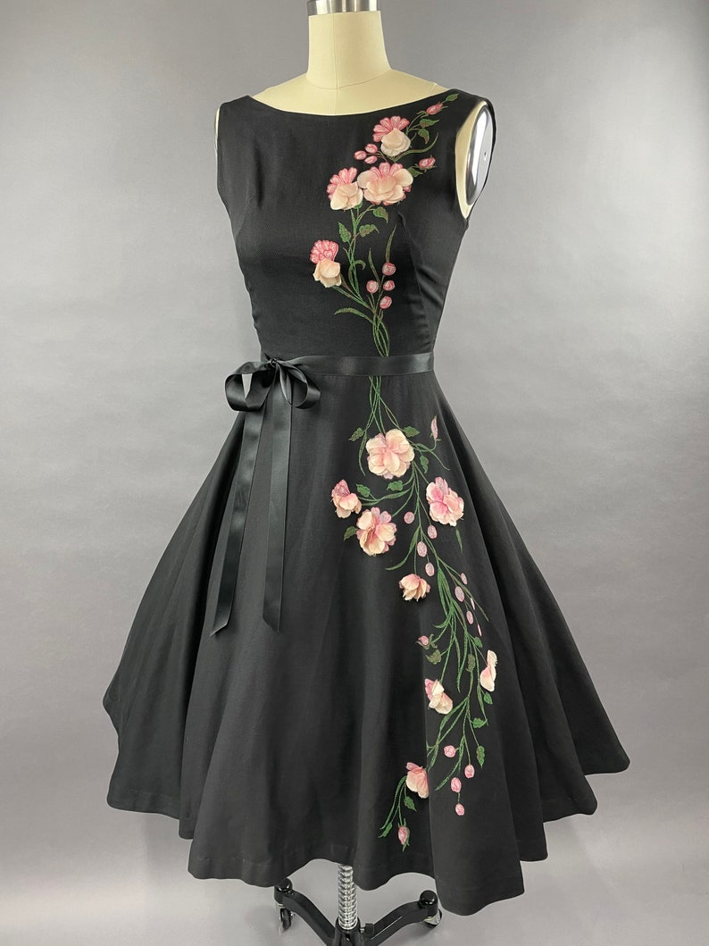 1950s Cotton Floral Painted and 3D Flowers Cotton Dress Size S