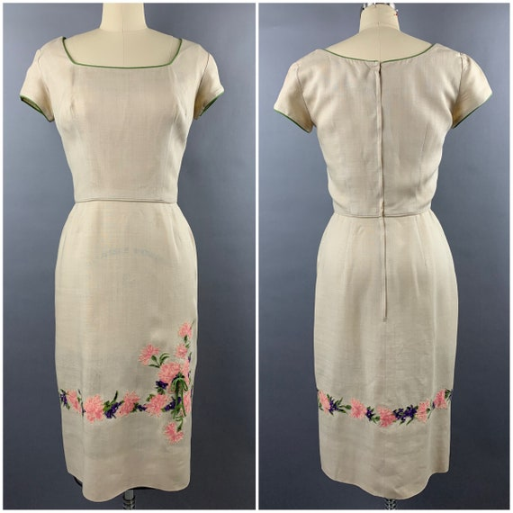 1950s Peggy Hunt Cream Linen Wiggle Dress with Car