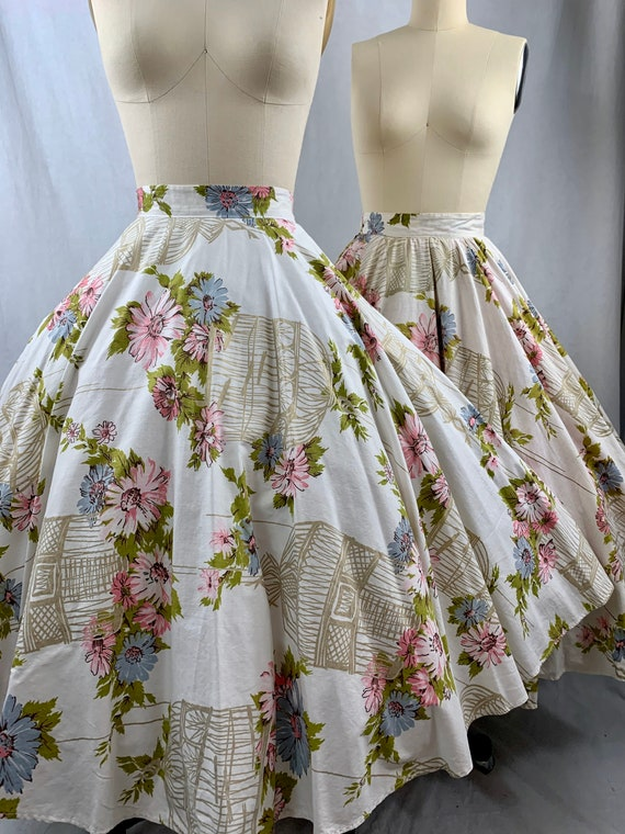1950s floral birdcage circle skirt