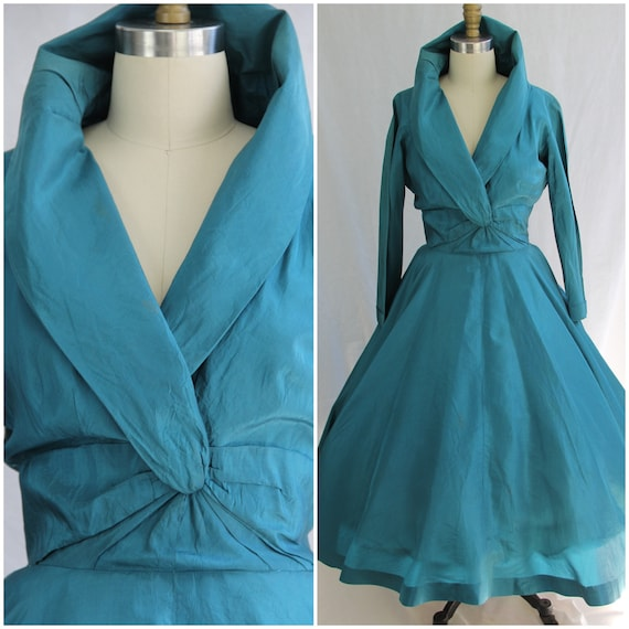 1950s Teal Pure Silk full skirt dress