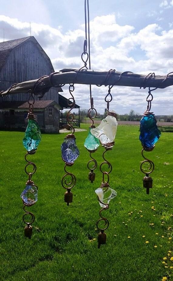 Peach and Pink Fenton Art Glass SuncatcherWind Chime Fairystones Garden Art