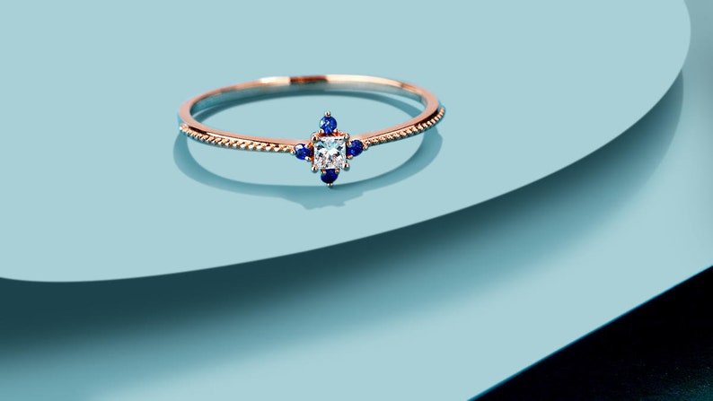 Sapphire engagement ring rose gold,Square diamond wedding ring for women,delicate Bead edge ring,art deco jewelry,anniversary gift for her