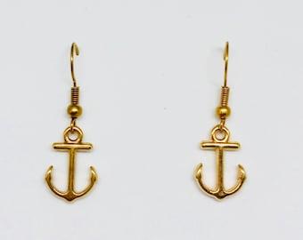 Gold Anchor Earrings Etsy