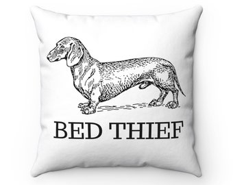 Dachshund Pillow Funny Bed Thief Doxie Pillow Dachshund Decor  Dachshund Decorative Pillow