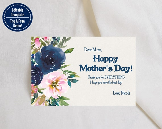 with Envelope Templates and Paper Designs Editable DIY Mother/'s Day Gift Instant Download and Edit at home Floral Mother/'s Day Card