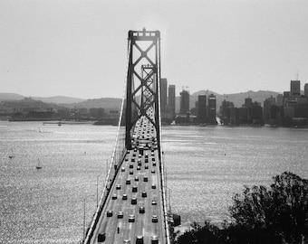 San Francisco Bay Bridge, black and white photograph