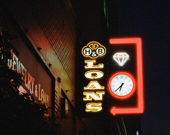 Neon sign photograph, metal print