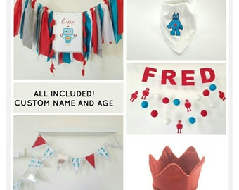 Robot birthday package,Science birthday theme,Robot party decorations,Robot bunting,Science shower party,Robot bandana.Robot highchair,crown